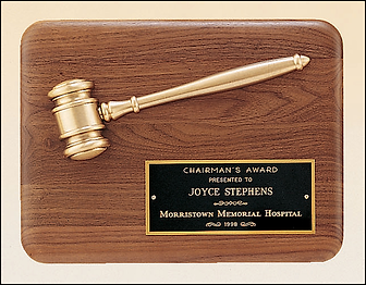 Walnut gavel plaque, plaque