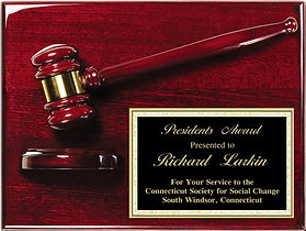 Rosewood piano finish gavel plaque, plaque