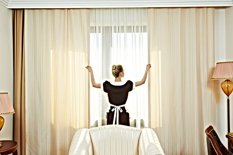 Hotel service. female housekeeping chamb