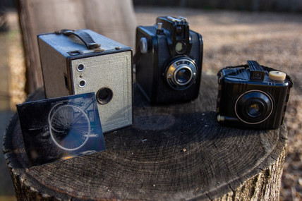 A collection of Box Brownie Cameras.