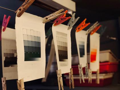 Darkroom carbon printing of 21 step tablets