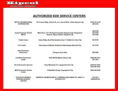 Kipcol International Corporation Authorized KDK Service Centers