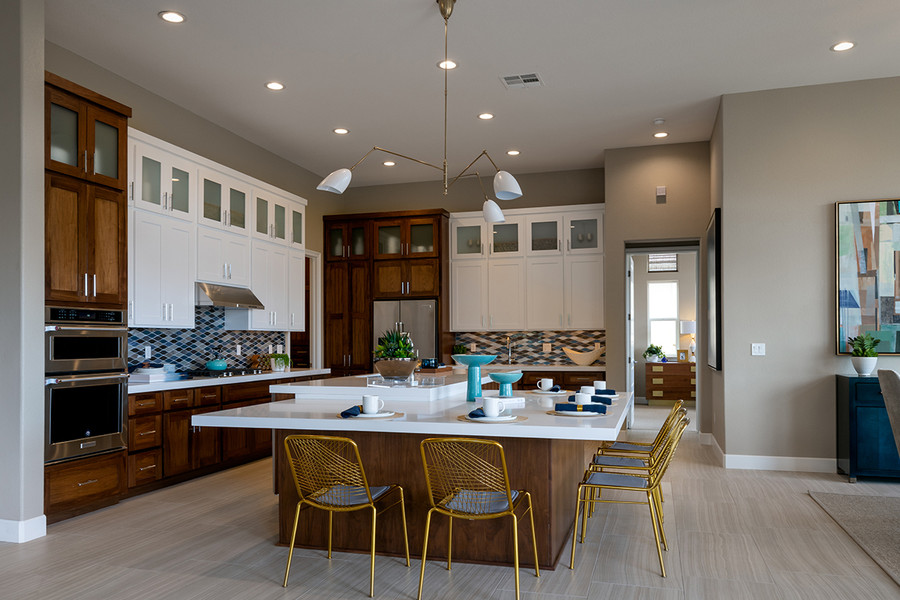 """Dual Color Cabinets Species: Paint Grade & Alder Door: 3"""" Shaker Paint: Bright White Stain: Chocolate"""