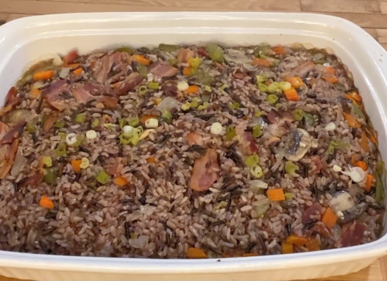 Anishinaabe recipe using wild smoked meat and wild rice.
