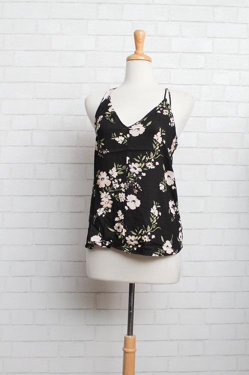 Tie Back Floral Tank, Black