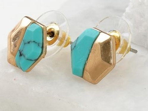 Hexagon Post Earrings