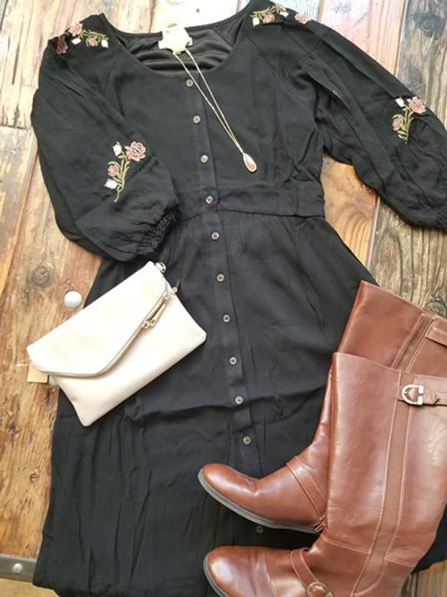 Button Front, Embroidered Dress
