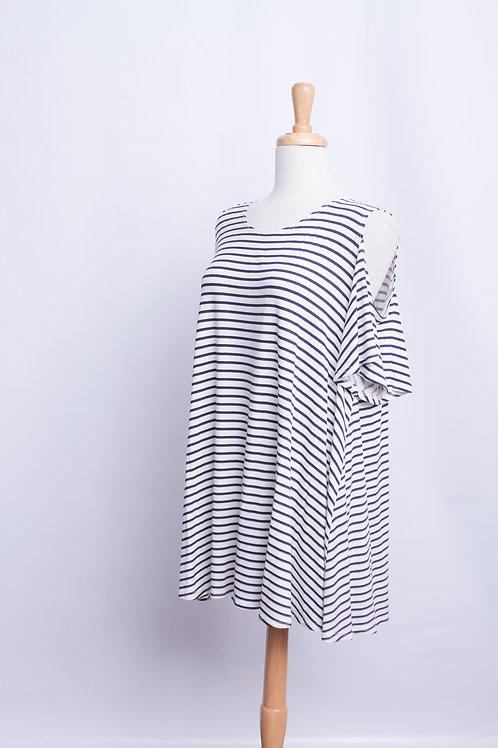 Striped Cold Shoulder, Plus