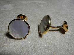 burbell cufflinks / MOP & gold