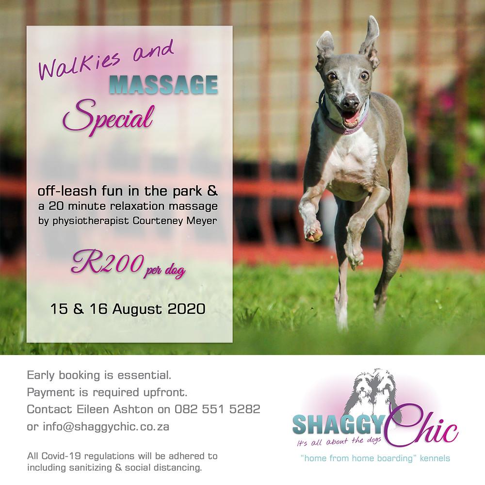 Shaggy Chic ; Courteney Meyer ; Animal Physiotherapist ; Canine Massage ; Dog Walk ; Dog Park