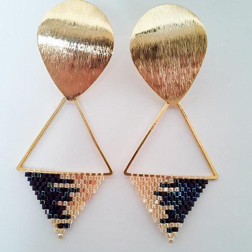 Aretas miyuki triangulo negro dorado
