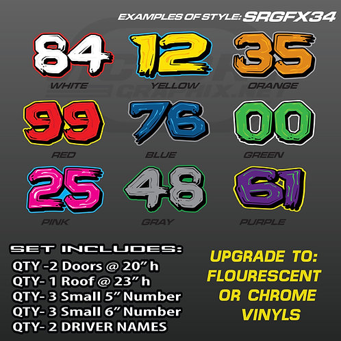 RACING NUMBER SET STYLE SRGFX 34