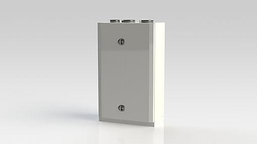 Kuben 600E är avsett att nästan ljudlöst ventilera lokalerna och kan placeras i ett av rummen som ska ventileras.