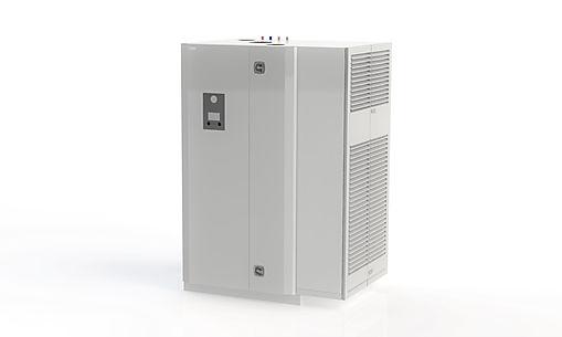 Aggregat för villans hela behov av ventilation, värmepump, tappvarmvatten och radiatorvärme eller golvvärme.