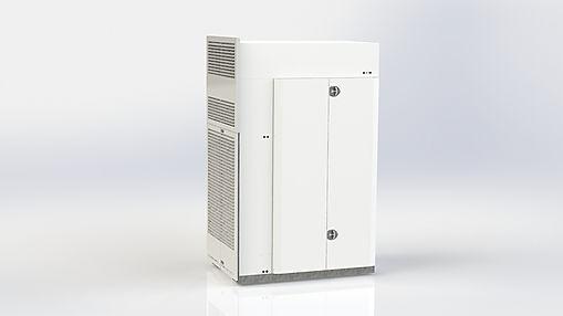 Aggregatet har en inbyggd värmepump och en effektiv värmeåtervinning för att hjälpa till med att värma upp lokalerna.