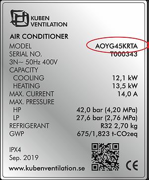 Bild Typskyltar Värmepump Kuben Ventilation