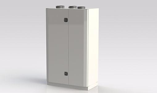 Kuben 700 är avsett att nästan ljudlöst ventilera lokalerna och kan placeras i ett av rummen som ska ventileras.