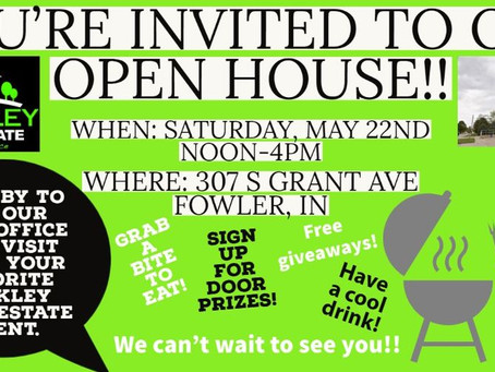 Open House May 22nd for Cackley Real Estate!