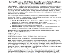 Media Advisory: Sunrise Movement & Gulf Coast Center for Law & Policy Host Green New Deal Na