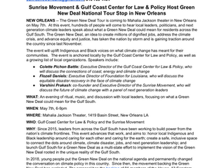 Media Advisory: Sunrise Movement & Gulf Coast Center for Law & Policy Host Green New Deal Na