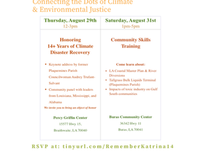 Join us! #Katrina14:  Honoring Legacies of Courage- Connecting the Dots of Climate & Environment
