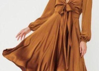 Sheike Mustard Silk Dress Size 16