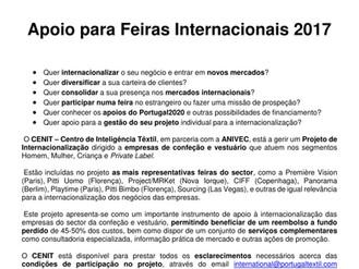 APOIO PARA FEIRAS INTERNACIONAIS 2017