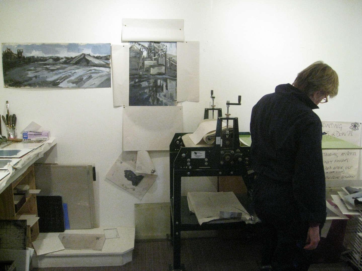 Student in studio - printmaking