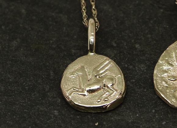 Ancient Pegasus Coin Pendant in 10k Gold