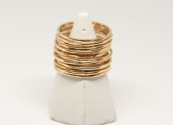 10k Gold Thin Stacking Ring: Distressed and Hammered