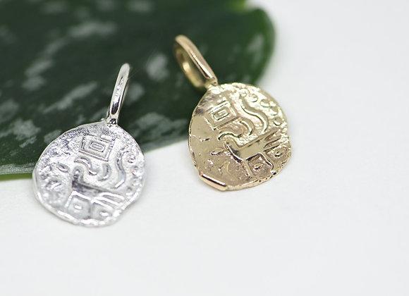 The Hamsa Bird Coin Pendant in 10k Gold