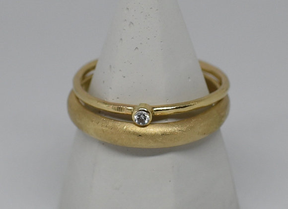 The Golden Tiny Gem Ring: Thin Hammered 10k Band and White Sapphire