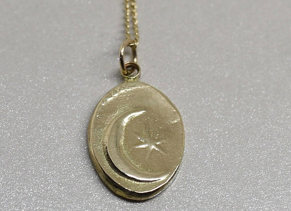 The Crescent Moon and Star Coin in 10k Gold or Silver