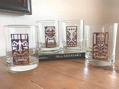 Gold Tiki Cocktail Glass Set