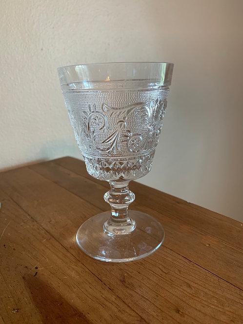 Pressed glass wine goblet
