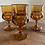 Thumbnail: Vintage amber King's Crown goblet set