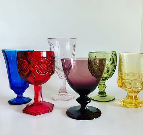 Vintage mixed goblets set