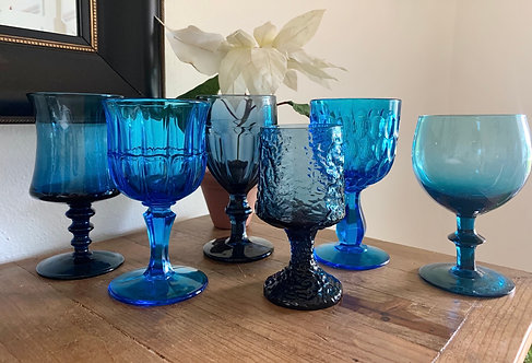 Vintage blue mixed matched goblets