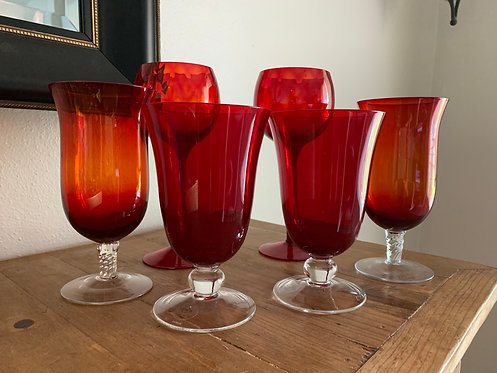 Red goblets mixed set
