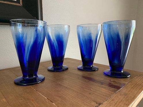 Libbey Cobalt Blue Footed Glasses