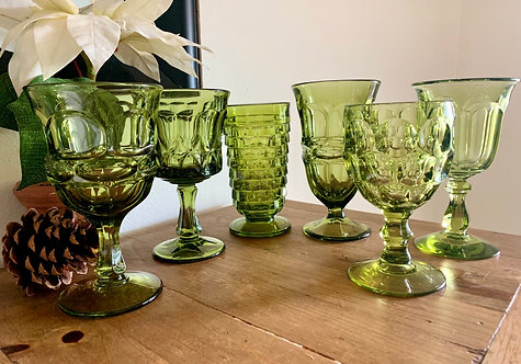 Vintage green mixed matched goblets