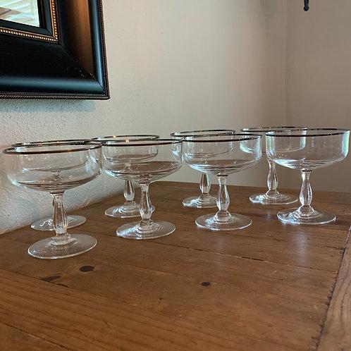 Vintage platinum rimmed coupe glasses