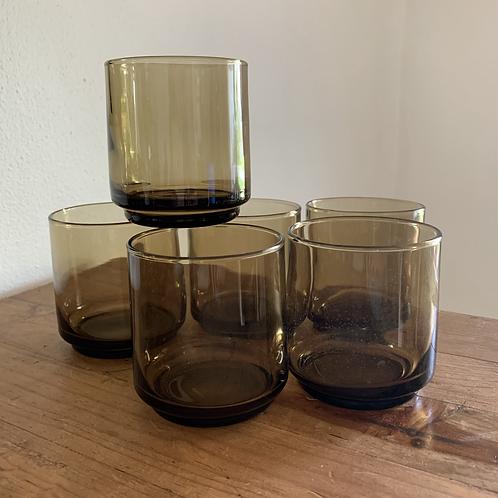 Vintage boho Smokey brown cocktail glass set
