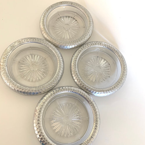 Vintage crystal and hammered aluminum coasters