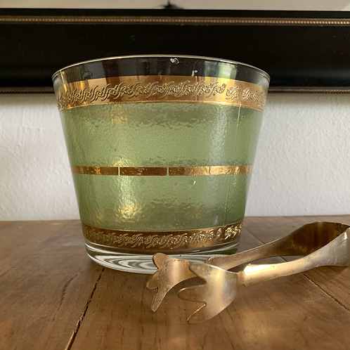 Vintage Culver Starlyte Ice bucket and tong