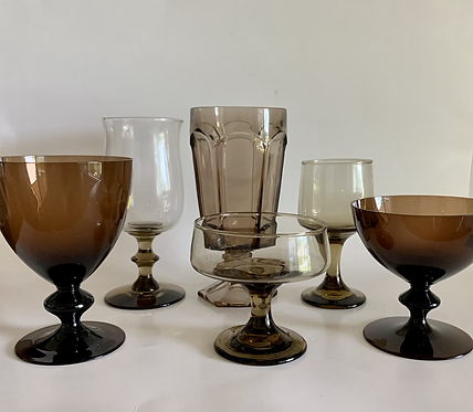 Vintage mixed brown and mocha goblets
