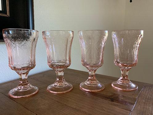 Vintage Madrid pink depression glass goblet set