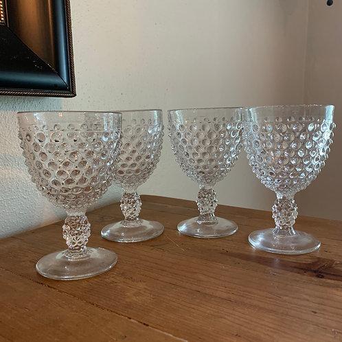 Vintage hobnail glass goblets