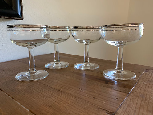 Vintage glass and platinum champagne coupe set