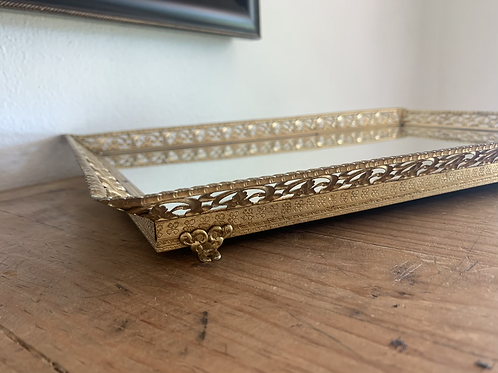 Large filigree footed vanity/bar tray